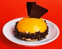 Gâteau de fruit dans une glaçure avec du chocolat Image libre de droits
