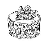 Gâteau de fruit de croquis, baie gâteau tiré par la main de fraise d'encre Images libres de droits