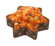 Gâteau de fruits secs d'isolement de Noël avec les fruits glacés Photo libre de droits