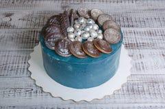 Gâteau de galaxie de fromage fondu avec les biscuits et le marmelade de chocolat photographie stock libre de droits