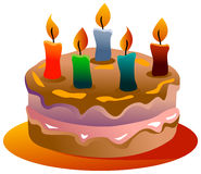 Gâteau de jour de naissance Image libre de droits