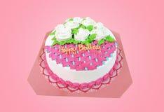 Gâteau de joyeux anniversaire au-dessus de fond rose Image stock