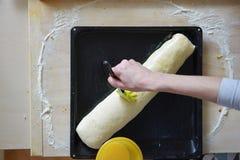 Gâteau de levure de cuisson avec du cacao remplissant 10 - chemin avant la cuisson Images stock