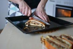 Gâteau de levure de cuisson avec du cacao remplissant 12 - gâteau cuit au four Photo libre de droits