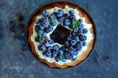 Gâteau de livre avec des fruits de forêt photo stock