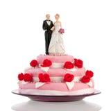 Gâteau de mariage avec des couples Photo libre de droits