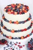 Gâteau de mariage avec des fruits sur le fond blanc Images libres de droits