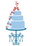 Gâteau de mariage avec des oiseaux, vecteur Image libre de droits