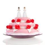 Gâteau de mariage avec les couples lesbiens Images stock