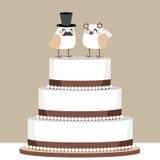 Gâteau de mariage d'amour d'oiseaux Image libre de droits