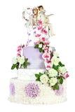 Gâteau de mariage d'isolement sur le fond blanc Photo stock
