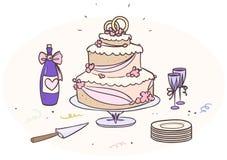 Gâteau de mariage de bande dessinée Images libres de droits
