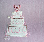 Gâteau de mariage de tissu Photographie stock