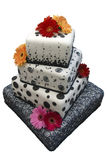 Gâteau de mariage fleuri images stock