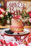 Gâteau de mariage de niveau multi avec des baies Image libre de droits