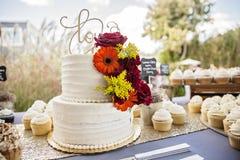 Gâteau de mariage sur la table au mariage de jardin Images libres de droits