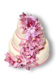 Gâteau de mariage traditionnel avec des fleurs d'orchidée Image libre de droits