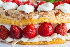 Gâteau de meringue avec du yaourt de fraise sur le bois bleu Image libre de droits