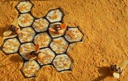 Gâteau de miel découpé en tranches Photographie stock libre de droits