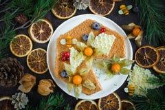 Gâteau de miel fait à la maison, vue supérieure sur le fond foncé images stock