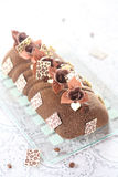 Gâteau de mousse de Yule Log de café images libres de droits