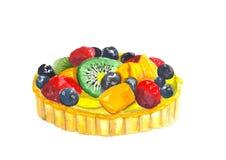 Gâteau de myrtille de kiwi de fruit d'aquarelle illustration de vecteur
