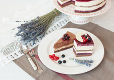 Gâteau de niveaux de la lavande deux Photos libres de droits