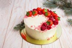 Gâteau de Noël avec des baies Photos stock