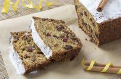 Gâteau de Noël, découpé en tranches Photographie stock