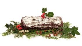 Gâteau de Noël de logarithme naturel de Yule Photographie stock libre de droits