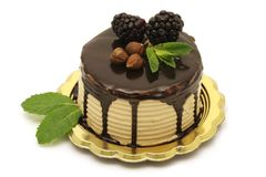 Gâteau de noisette et de chocolat Images stock
