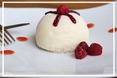 Gâteau de noix de coco blanc du plat blanc avec la framboise Photo libre de droits