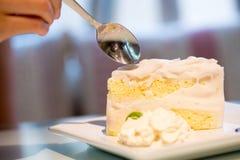 Gâteau de noix de coco blanc Images libres de droits