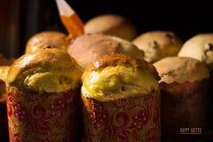 Gâteau de Pâques Procédé de cuisson handmade Tradition nationale ukrainienne images libres de droits