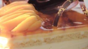 Gâteau de pêche banque de vidéos