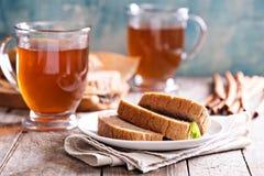 Gâteau de pain de pain d'épice avec le thé chaud Photographie stock libre de droits