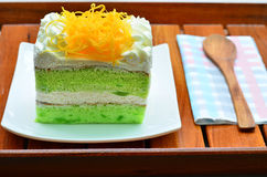 Gâteau de Pandan, topdressing de fios de ovos Photos stock