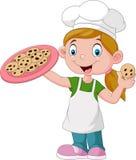 Gâteau de participation de petite fille de bande dessinée illustration libre de droits