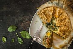 Gâteau de Pasqualina - au goût âpre, reçu italien photo stock