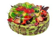 Gâteau de pistache sur le fond blanc Images libres de droits