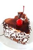 Gâteau de plaque avec la cerise Photographie stock