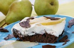 Gâteau de poire de chocolat Images stock