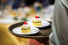 Gâteau de portion de serveuse en partie Photographie stock libre de droits