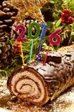 gâteau 2016 de rondin de Noël Image libre de droits