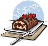 Gâteau de roulis de chocolat avec des fraises illustration stock