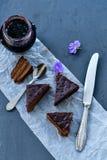 Gâteau de Sacher Vienne de chocolat Photo libre de droits