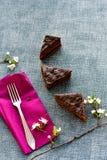 Gâteau de Sacher Vienne de chocolat Photos stock