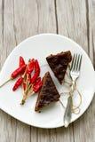 Gâteau de Sacher Vienne de chocolat Photographie stock