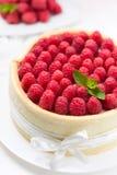 Gâteau de Savoie avec des framboises Photo stock