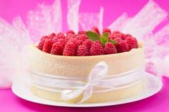 Gâteau de Savoie avec des framboises sur un rose Images libres de droits